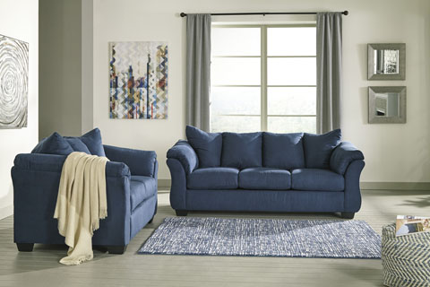 Ace Rent To Own Ashley Furniture Blue Darcy Sofa Loveseat Rent