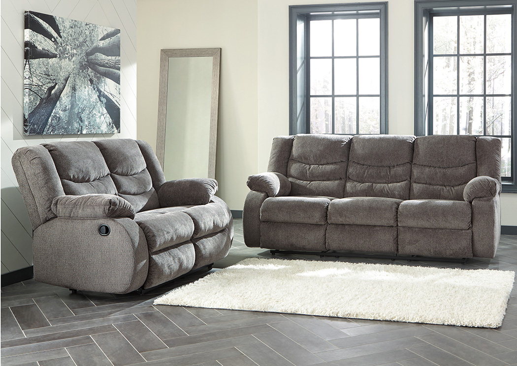 Ace Rent To Own Ashley Furniture Gray Tulen Reclining Sofa Amp Reclining Loveseat Rent To Own